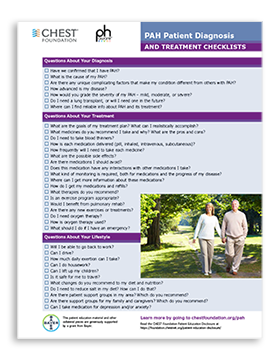 PAH Patient Diagnosis Treatment Checklist