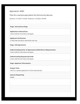 Sample Community Service Application